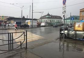 بارندگی شدید در کازان در آستانه شروع دیدار ایران و اسپانیا + فیلم