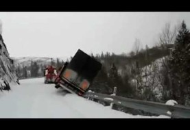 Truck falling 196 feet off a cliff in Norway