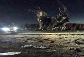 حمله انتحاری جیش العدل به اتوبوس نیروی زمینی سپاه در جاده خاش - زاهدان: دستکم ۳۰ کشته