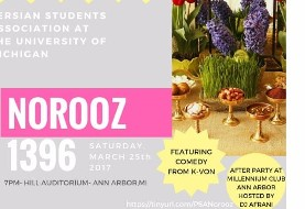 "۱۹th Annual Norooz Show ""Aab-o-Aatash,"" Comedy by K-von, and Afterparty"