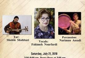 Persian Classical Music Concert with Fahimeh Nourfardi, Shahin Shahbazi and Nariman Assadi