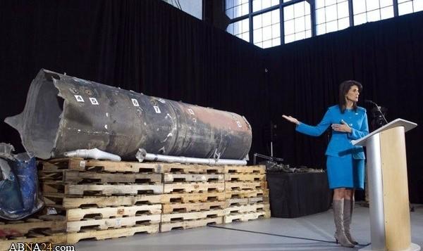 نیکی هیلی با نشان دادن لاشه یک موشک فرود آماده در عربستان آن را ساخت ایران خواند