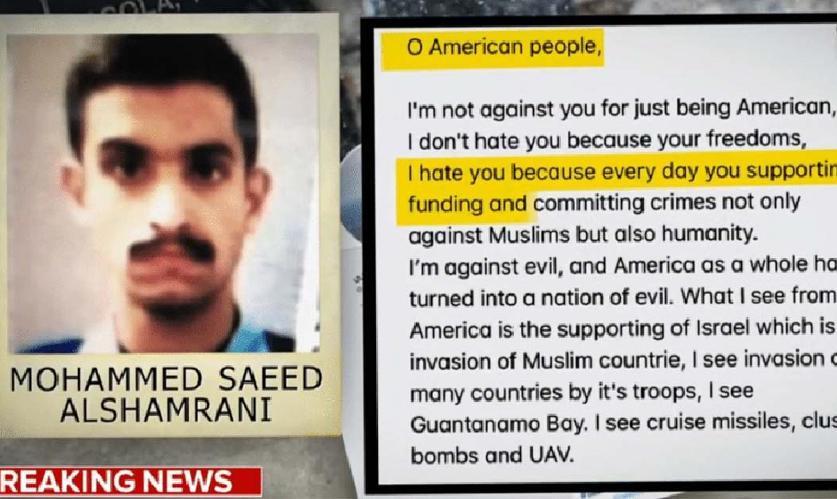 پیام خلبان سعودی قبل از تیراندازی و کشتار در پایگاه نیروی هوایی آمریکا در فلوریدا: آمریکا دشمن انسانیت است و حامی اسراییل