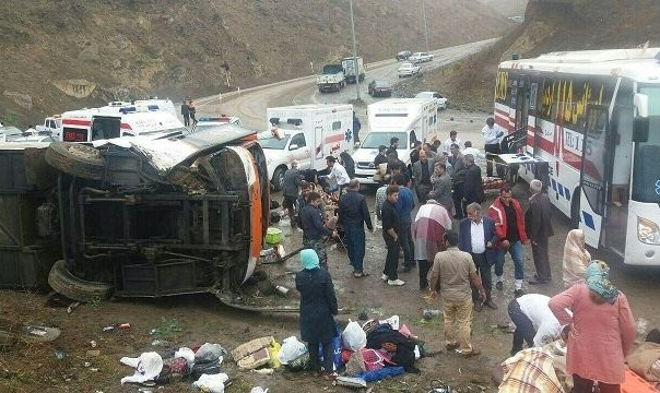 حادثه برای اتوبوس زائران زن گچسارانی در مسیر مشهد: ۴۵ کشته و زخمی