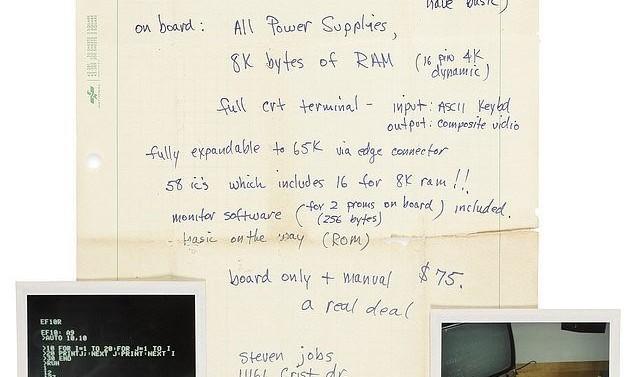 دستخط استیو جابز که کامپیوتر اپل خود را ۷۵ دلار فروخت