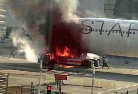 آتشسوزی در فرودگاه فرانکفورت ۱۰ زخمی بر جای گذاشت + فیلم