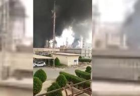 فیلم: اولین تصاویر از آتش سوزی در پالایشگاه آبادان
