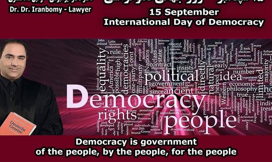 Dr. Iranbomy, Rechtsanwalt, Seminar: International Day of Democracy