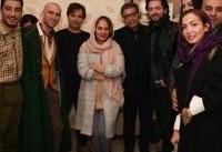 مهناز افشار، بهرام رادان و نوید محمدزاده در پشت صحنه یک نمایش/ عکس
