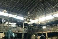 حمله به حسینیه درکه تهران و آتش زدن آن (+عکس)