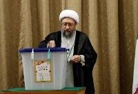 حضور آیت الله صادق آملی لاریجانی رئیس قوه قضائیه در انتخابات   تصاویر