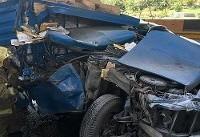 عکس/ تصادف شدید نیسانوانت با کامیونت در بزرگراه امام علی(ع)