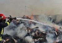 حریق گسترده در محله حکیمیه/ انبار نگهداری از سوسیس و کالباس در آتش سوخت