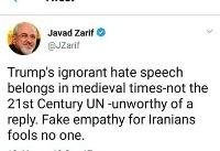 واکنش توییتری وزیر امور خارجه به سخنان ترامپ