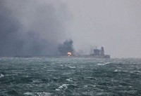 چین: ۲ لکه نفتی به وسعت ۱۰۹ کیلومتر مربع از سانچی باقی ماند
