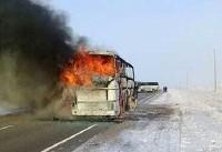 آتش گرفتن اتوبوس جان ۵۲ قزاقی را گرفت