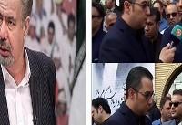 صحبتهای عادل فردوسی پور و مظلومی در مراسم تشییع پیکر مرحوم شفیع + فیلم