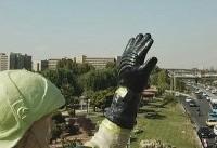 ترمیم مجسمه آتشنشان در غرب تهران