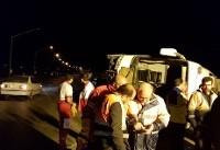 ۲ کشته و ۱۰ زخمی در واژگونی اتوبوس مشهد ـ کرمانشاه
