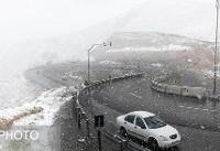 بارش برف در جاده کرج-چالوس، هراز و فیروزکوه