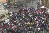 تظاهرات مردم پاریس در اعتراض به سفر ترامپ به فرانسه