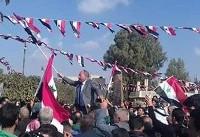 تظاهرات گسترده مردم «درعا» در حمایت از بشار اسد+تصاویر