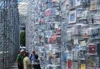 بازسازی معبد پارتنون در ابعاد واقعی در محل کتابسوزی نازیها با یکصدهزار جلد کتاب ممنوعه