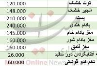 قیمت انواع آجیل در آستانه شب یلدا/ خشکبار چقدر گران شد+ جدول