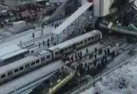 تصاویری از لحظه واژگونی مرگبار قطار در ترکیه