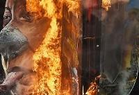 مخالفین، عکس رئیس جمهور فیلیپین را آتش زدند+عکس