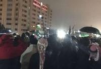 ادامه تحصن مردم در پایتخت اردن به رغم باران شدید+عکس و فیلم