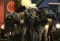 درگیری خشونت آمیز نیروهای پلیس ایتالیا با معترضان چپ افراطی