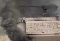 یک دستگاه تانک ارتش ترکیه در شمال استان حلب منهدم شد