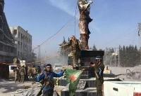 ورود نیروهای ترکیه به شهر عفرین؛ پایین کشیدن مجسمه کاوه آهنگر از میدان مرکزی (+عکس)