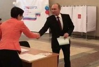 حضور پوتین در پای صندوق آرای ریاست جمهوری (عکس)