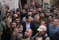 ویدئوی بازدید و رانندگی بشار اسد در غوطه شرقی