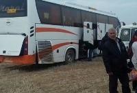 ۱۱ مصدوم در حادثه خروج اتوبوس مسافربری از جاده