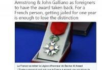 فرانسه نشان لژیون دونور را از بشار اسد پس میگیرد