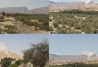 بلند شدن دودسفید از کوه نمک جاشک بعد از زلزله بوشهر (+عکس)