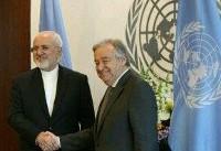 رایزنی  ظریف با دبیر کل سازمان ملل
