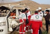 ۲ کشته و ۱۲ مجروح در حادثه واژگونی خودروی ون در فارس (+عکس)