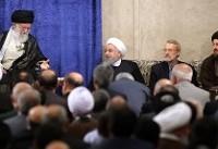 عکس| خوش و بش رهبر انقلاب و رئیسجمهور