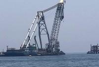 نصب اولین سکوی دریایی فازهای ٢۴-٢٢ پارس جنوبی
