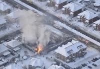 تصویری از آتش سوزی در برف