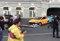 تصاویری از بازداشت راننده مهاجم در مسکو