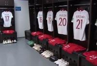 نمایی از رختکن و لحظه ورود دو تیم لهستان و سنگال به ورزشگاه +فیلم