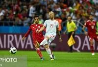 پایان نیمه نخست دیدار ایران و اسپانیا با تساوی بدون گل