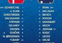 اعلام ترکیب دو تیم دانمارک و استرالیا