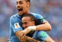 پیروزی اروگوئه مقابل روسیه ۱۰ نفره و صعود به عنوان صدرنشین