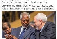 توئیت ظریف درپی درگذشت کوفی عنان: در آرامش به سر ببری، دوست قدیمی عزیز من